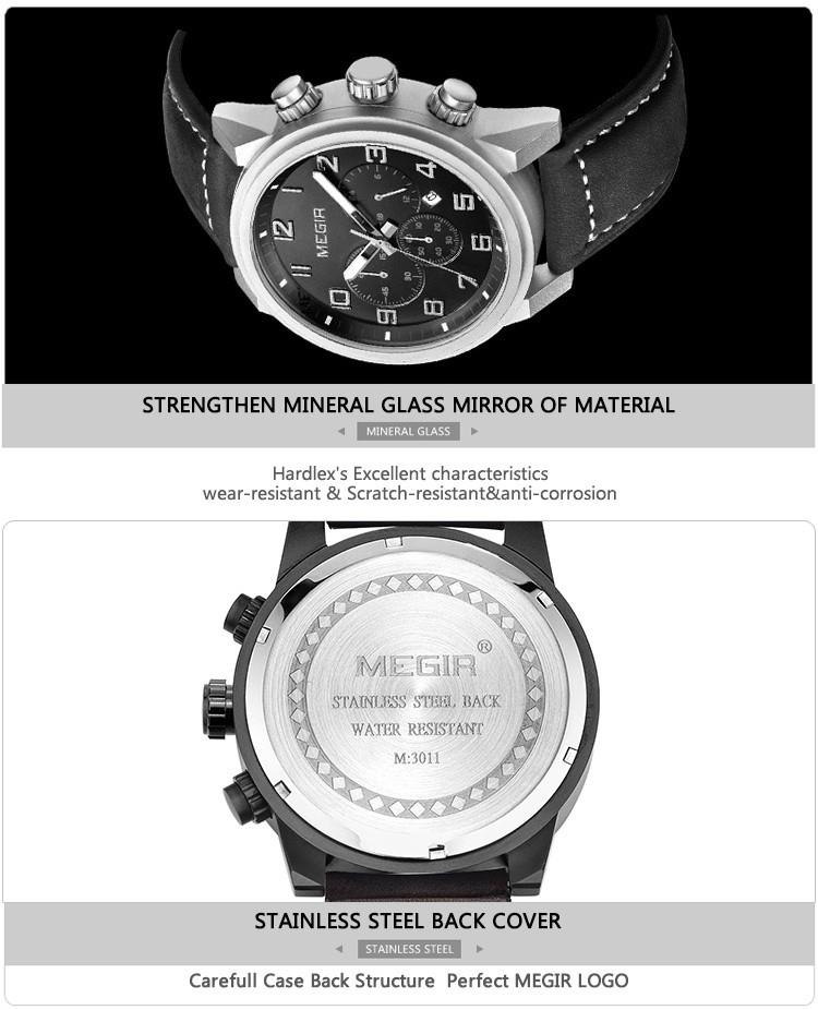 2016 Стальной Корпус Мода военная дата кварцевые часы мужчины аналоговый хронограф кожаный наручные часы мужчины лучшие марка MEGIR 3784