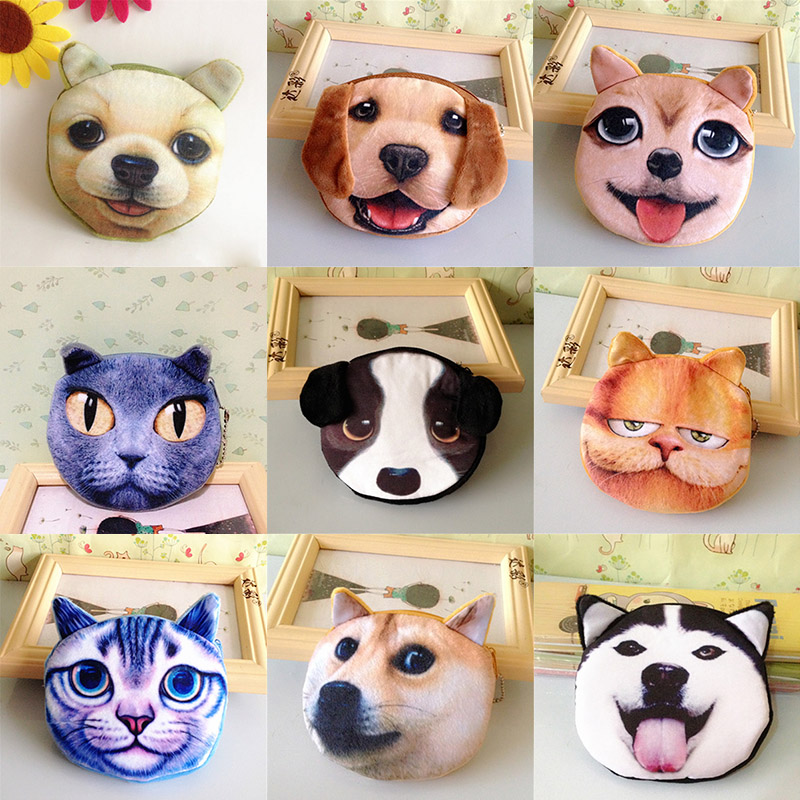 2016 New Cats Dogs Coin Purse Cute Kids Cartoon Wallet Lovely Bag Coin Pouch Children Purse Holder Women Coin Wallet 3D Printing