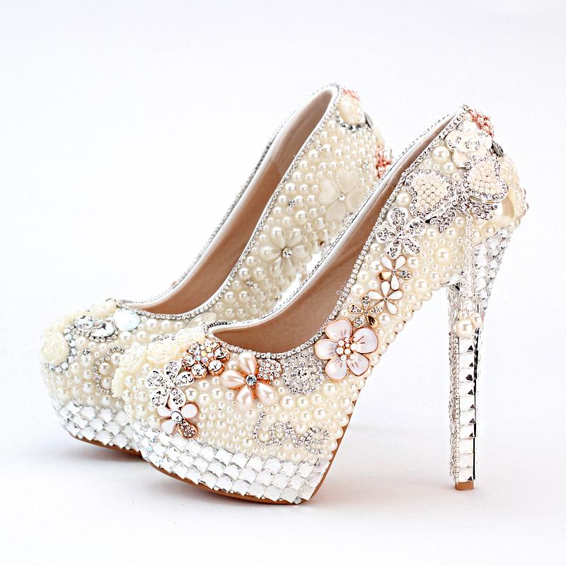 Здесь можно купить  Personalized 2015 High Heel Ivory Pearl Bridal Shoes Wedding and Brideal Shoes with Tassel Lo Shape Evening Prom Party Platforms  Обувь