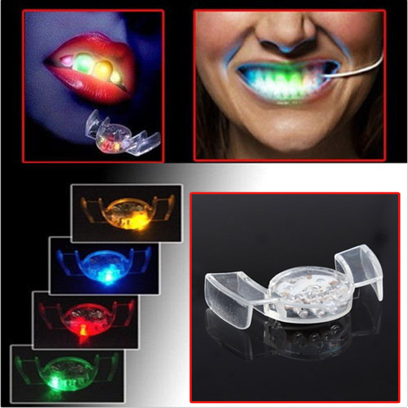 New Arrival LED Flash Light Mouth Guard Piece 4 Colors Party Glowing Tooth Toy Light Up Toy Party Glowing Christmas gift(China (Mainland))