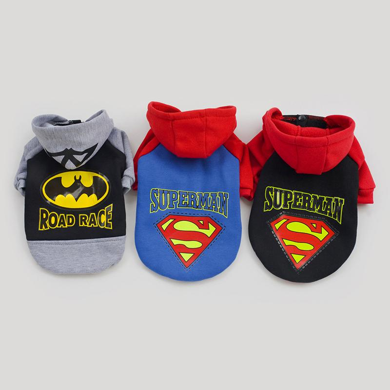 Factory Sale 3 Colors Superman Batman Pattern Pet Dog Coat Warm Costumes Winter Outfit Clothes For Dogs, Ropa Para Perros(China (Mainland))