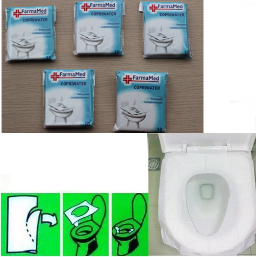 Free shipping 2Packs(20Pcs)Travel disposable toilet seat cover mat 100% waterproof toilet paper pad GYH(China (Mainland))