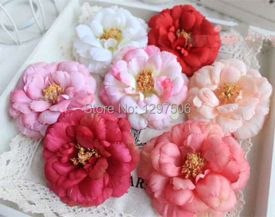 6CM small fabric camellia flower artificial roses heads,DIY head wreath,bride brooch corsage,silk flower arrangements decoration(China (Mainland))