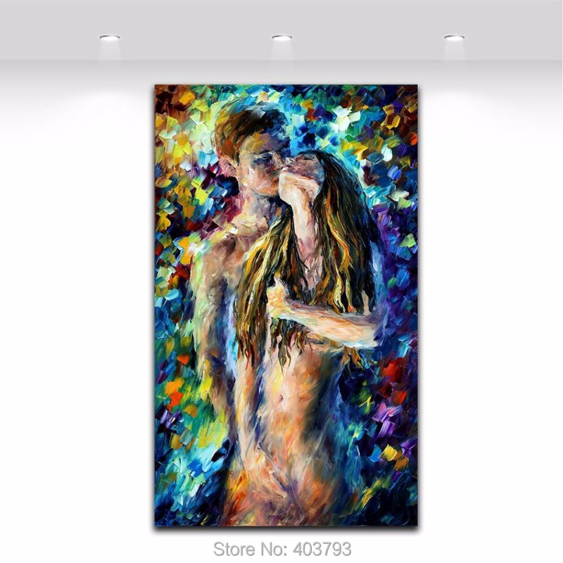 Buy 100% Hand Painted Nude Woman and Man Sex Oil Painting Palette Knife Abstract Picture Body Canvas Art Christmas Gift Home Decor cheap