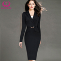 MYCOURSE OL Style Notched Collar Full Sleeve Solid Color Women Slim Hip Dress Vestido de las