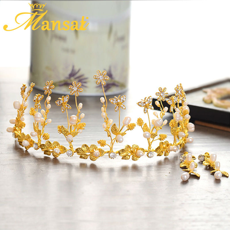Luxurious Gold Wedding Bridal Hair Jewelry Set Tiaras and Earrings Natural Pearl Jewely Austrian Crystal Hair Accessories SG305(China (Mainland))