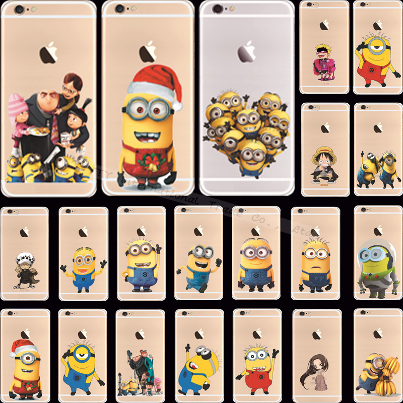 Top Detailed Popular Cartoon Silicon Yellow Minion Cover/Cases For Apple iPhone 6 4.7'' Case For iPhone6 Phone Shell NZS PAS NS(China (Mainland))