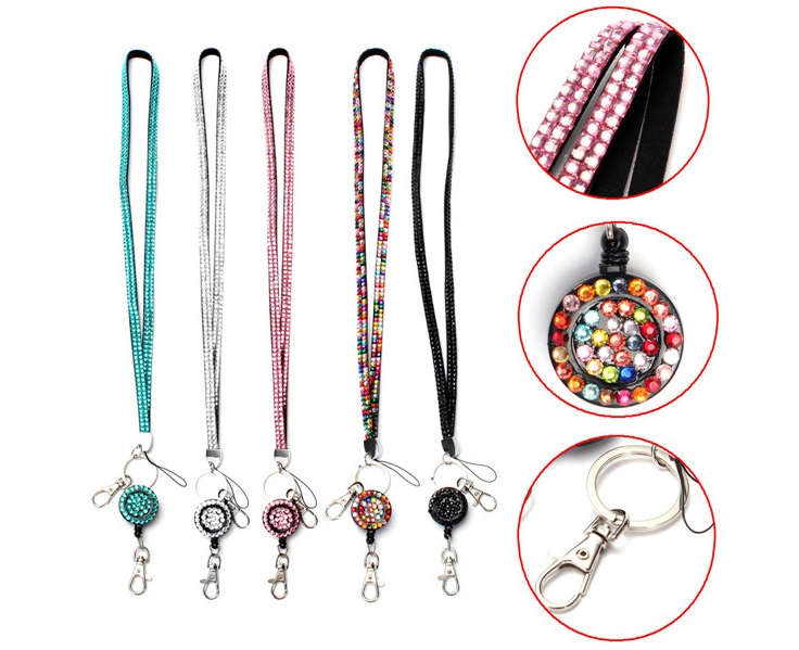 Free Shipping 100pcs/lot Retractable Bling Crystal Lanyard Reel For ID Badge Key Holder Mixed Color<br><br>Aliexpress