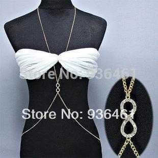 Women's Gold Charm Belly Chain Sexy Bikini Body Chain Rhinestone Infinity Belly Chain(China (Mainland))
