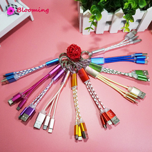 Universal 2.0 Micro USB Keychain Cable Power Bank Wire Soft Short 2in1 Charger Cable for iphone 5/5S SE for phone Cables