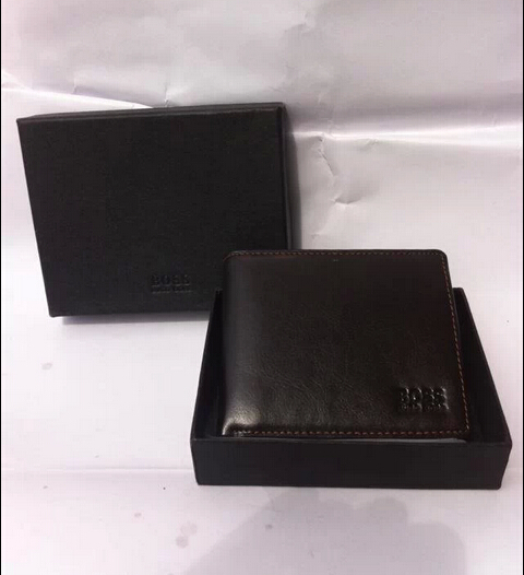 2015 new short paragraph Genuine leather Wallet Mens Wallets Black Brown With box Free Shipping