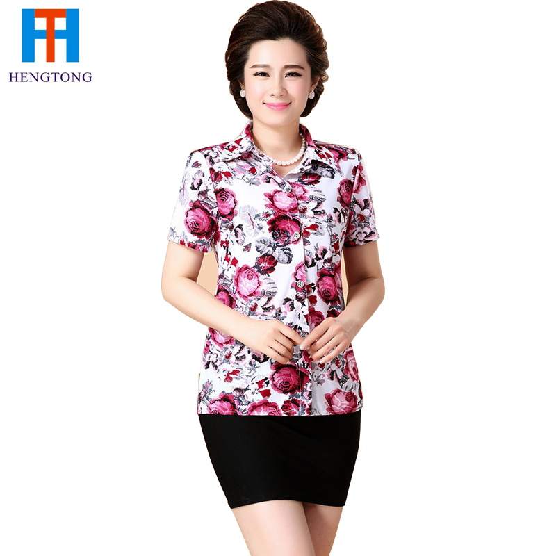 Mid And Old Aged Women Blouse 2015 Summer autumn Mom's Plus Size 5XL cotton short Sleeve Ladies' Loose Shirts blouses(China (Mainland))