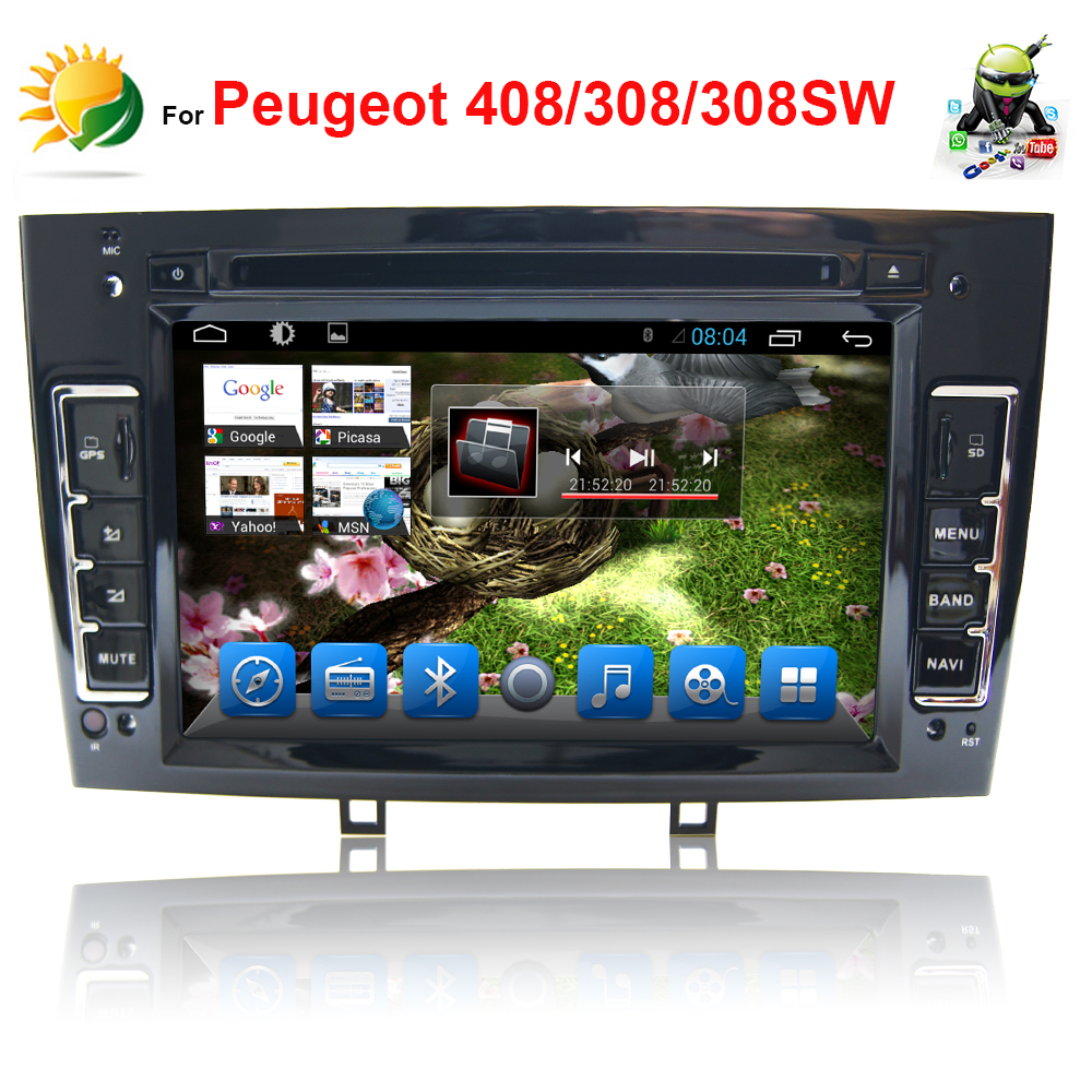 2 din android car radio bluetooth for peugeot 408 308 308sw dvd gps navigation stereo mp3 touch. Black Bedroom Furniture Sets. Home Design Ideas