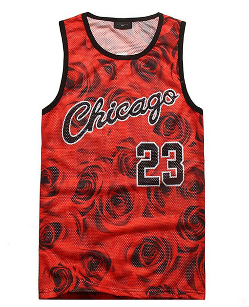 Alisister Hot Sale men's summer style 3d tank top Chicago Jordan 23 basketball vest jersey rose floral sleeveless t shirt tops(China (Mainland))