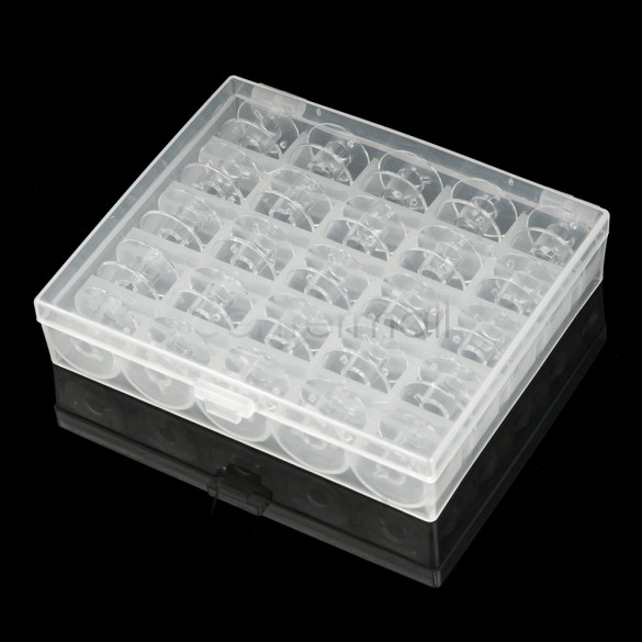 Plastic Sewing Machine Spools Thread Storage Case Box with 25 Single Bobbin Clear Color Good Quality(China (Mainland))