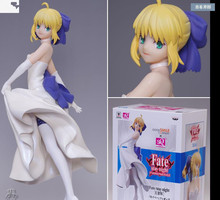 Anime Fate stay night SABER with White Dress Unlimited Blade Works UBW 18cm Sexy PVC Action Figure Model Doll Toy