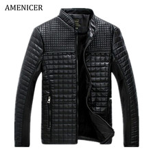 New 2016 Mens Leather Jackets And Coat Motorcycle Plaid Male Veste Cuir Jaqueta Masculina Winter Black Add Velvet Leather Jacket(China (Mainland))