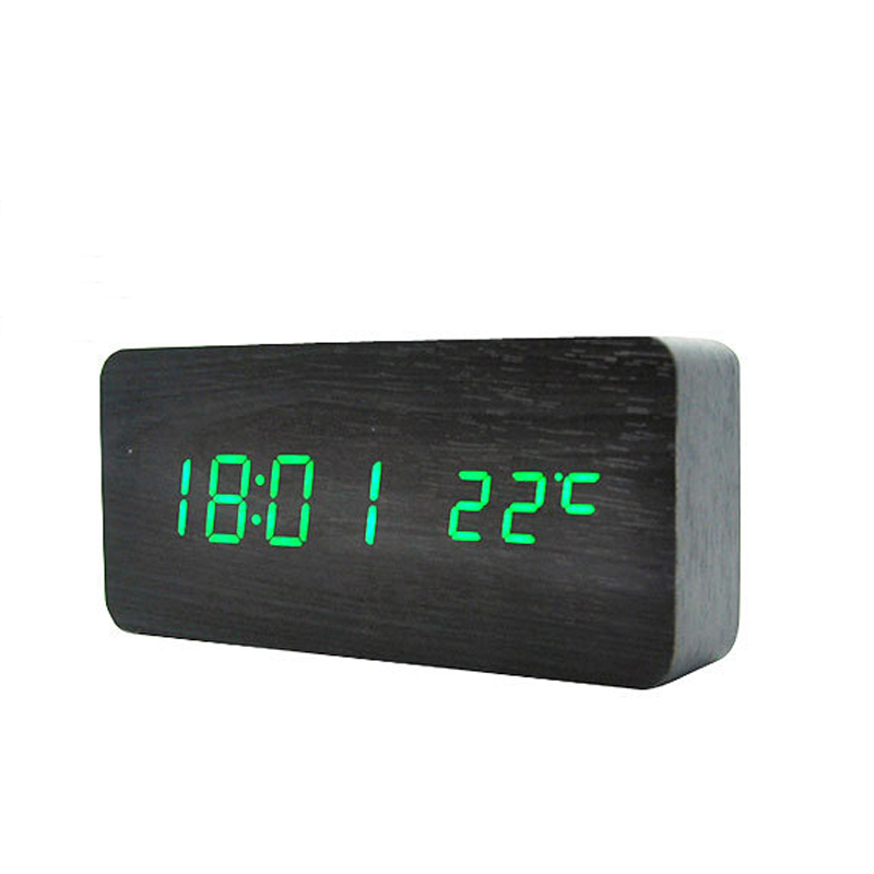Creative Digital LED Alarm Clock Sound Control Wooden Desktop Clock Thermometer USB/AAA Powered Bedroom Clock Mute Luminous(China (Mainland))