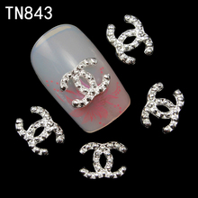 10Pcs New 2015 silver with Rhinestones,3D Metal Alloy Nail Art Decoration/Charms/Studs,Nails 3d Jewelry TN843