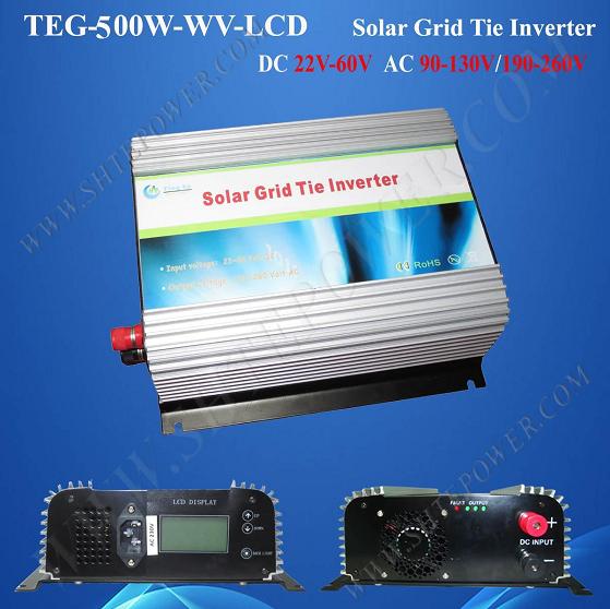 dc 24v 36v 48v to ac 110v 220v mppt solar grid tie inverter 500w with lcd display(China (Mainland))