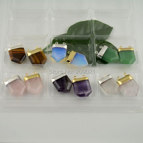 10Pcs Mixed Color Side Ways Stone Chakra Column Bead Pendant Charms Quartz Opal Amethyst Malachite