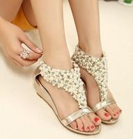 New Arrival Summer Female Shoes 2015 Rhinestone Zipper Pearl Beaded Hhigh Heels Gold Flip Flops Wedges Sandals Women's Shoes