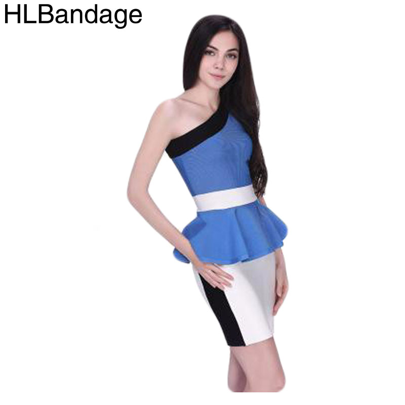 HLBandage One Shoulder Ruffle Rayon Bandage Dress 2014 New Arrival French Connection Sexy Women Pary Dress Blue Black Pink(China (Mainland))