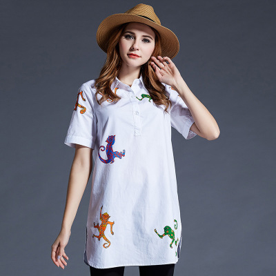 XN8188 XL-5XL Plus Size Clothing 2016 Summer Style Charactor Money Printed 100% Cotton Woman Lady White Blouse Shirts Top(China (Mainland))