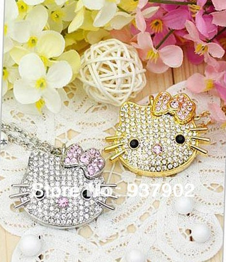 50pcs/lot Best Seller Crystal necklace kitty cat heart usb flash drive / Usb Memory stick / pen drive 4GB 8GB 16GB S240(China (Mainland))