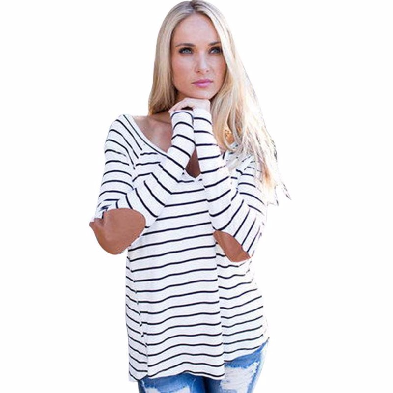 Plus Size Autumn Casual O-Neck Patchwork White Striped Long Sleeve Women T-Shirt Girl 90s Casual T-Shirt