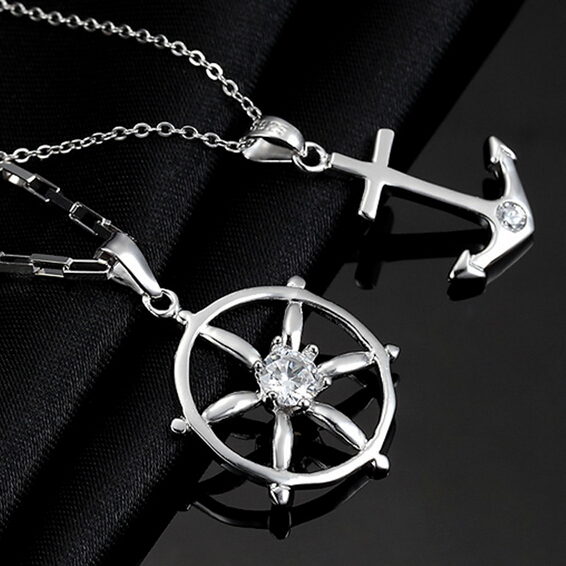 925 sterling silver couple pendant for lovers necklace anchor charm fashion jewellery for women men crystal charm christmas gift(China (Mainland))