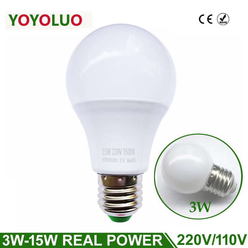 LED Lamp E27 LED Bulb Light B22 3W 5W 7W 9W 12W 110V 220V Real Watt SMD2835 aluminum cooling High Bright Lampada LED light(China (Mainland))