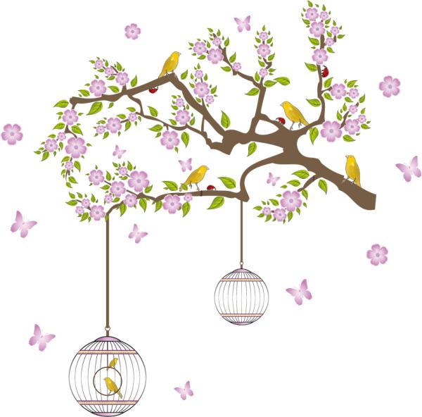 Стикер птицы чехол цветок дерево винил s съемный обои для детей номеров украшений на стене отличительные знаки