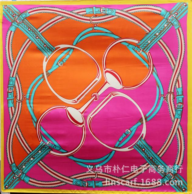 90 см * 90 см многоцветный роскошный шелк чешские печать квадратные шарфы для женщин новых 2016 летних дизайнер одежды аксессуары