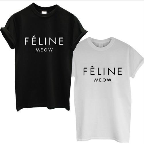 TUMBLR SWAG TOP Shirt 2015 New Summer Plus Size FELINE MEOW CAT t shirt HIPSTER CARA MENS WOMEN LADIES vestidos Cotton Tee(China (Mainland))