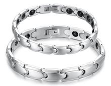 Fashion Jewelry Magnet Bracelet Health Care Functions Stainless Steel Bracelet Healing Magnetic Bracelet Lovers Bacelet(China (Mainland))