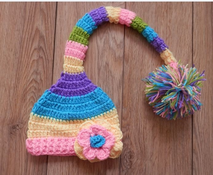 Free shipping, New Crochet Baby Pixie Elf Hat & flowers Caps Christmas Long Tail hat , Newborn Baby Photo props(China (Mainland))