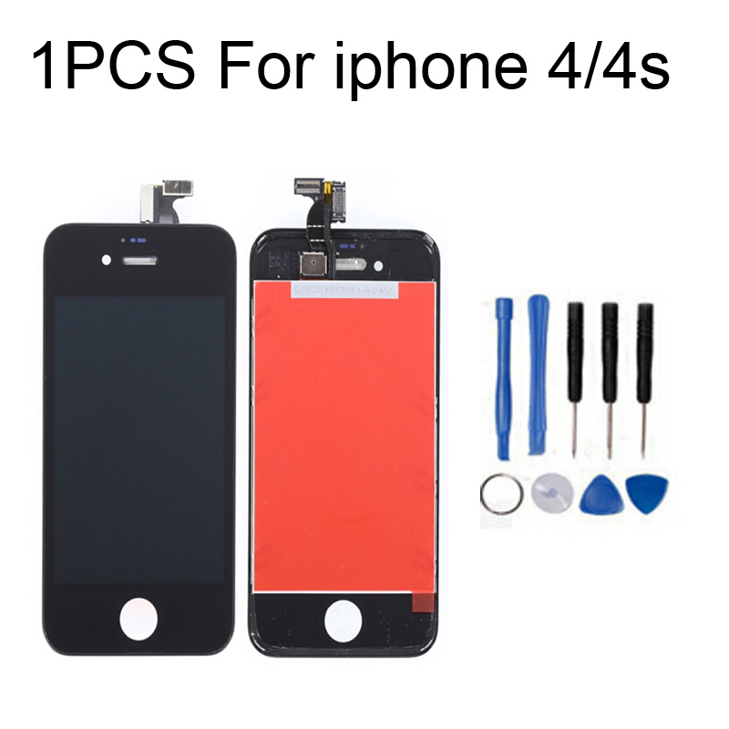 1pcs White Black For iPhone 4S 4GS Front Outer Glass Lens LCD Display Touch Screen Digitizer Assembly+Frame+Tools(China (Mainland))