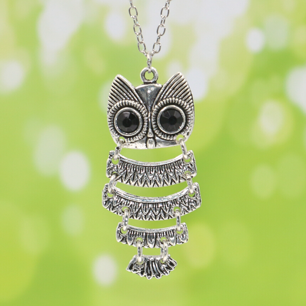 produto Korea Adorn Article Vintage Owl Pendants NecklaceAncient Owl Sweater Chain Jewelry