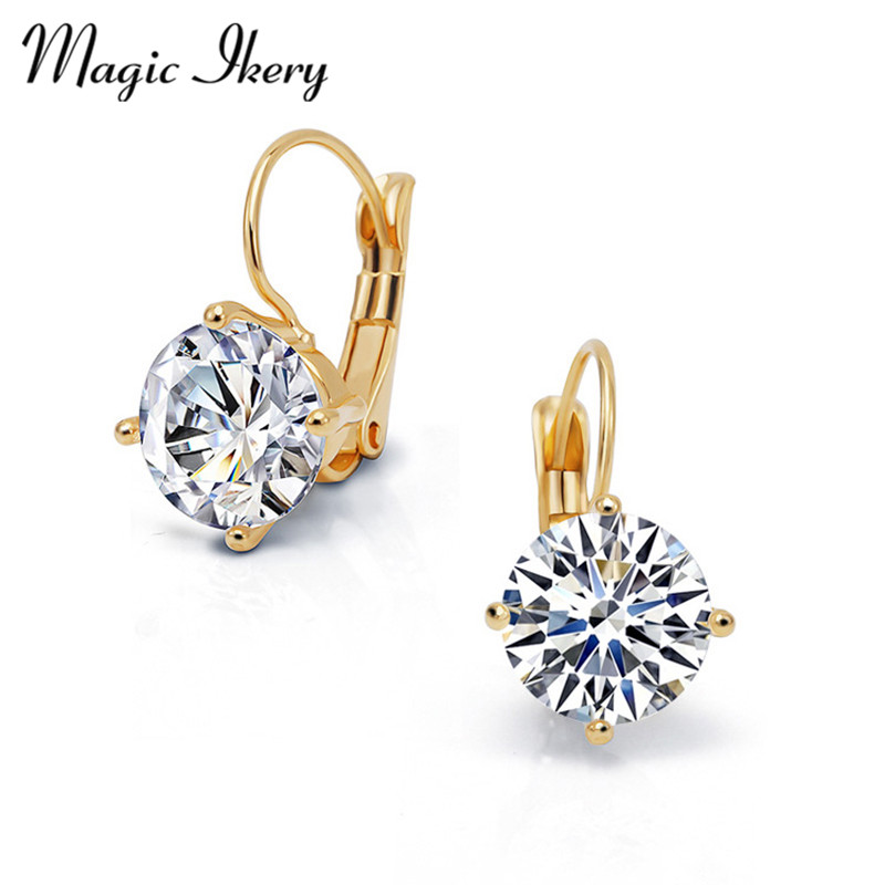 New 18K Gold Jewelry Big Zircon Crystal Gold & Silver Plated Hoop Earrings for Women A Low-Key Luxury Wedding Bridal Jewelry(China (Mainland))