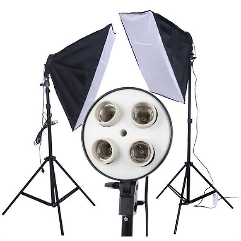 1 set New Photo Video Studio 50 x 70cm 4in1 4x head Socket Lighting Lamp Softbox F30120(China (Mainland))