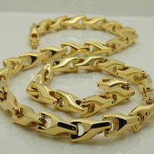 26 inch  8mm width  unique gold plating classic design bike chain men  hi-tech  tungsten necklaces & pendants(China (Mainland))