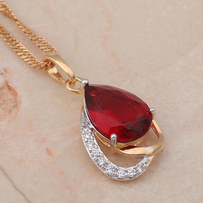 Water drop ruby 18K yellow k gold plated Necklace & Pendants amulet Rose Crystal Zircon cameo fashion jewelry LN230A(China (Mainland))