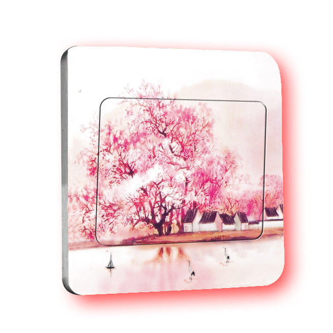 Free Shipment: 2015 Maple Tree Small House Switch Stickers Home Decoration PVC Durable Waterproof Wall Decoration(China (Mainland))