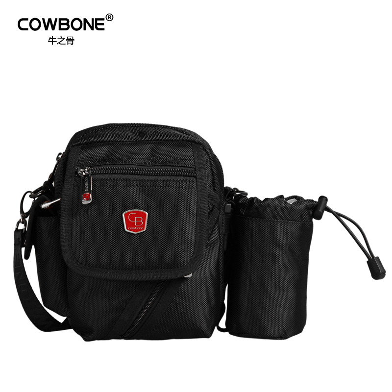 2014 Cowbone male small nylon messenger bag outside sport waist pack black color ,casual bag,free shipping(China (Mainland))