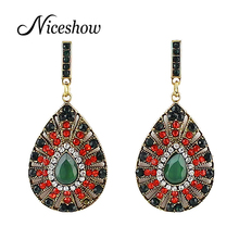 Ethnic Boho Style Luxury Bijoux Round Rhinestone Vintage Green Red Color Statement Dangle Earrings For Women(China (Mainland))