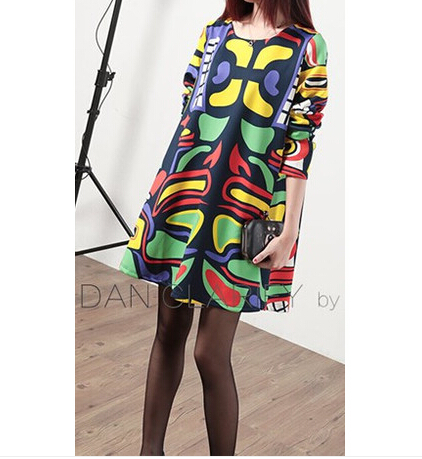2015 new style spring summer fashion women clothing loose cloak classic dress large size printing casual dresses female(China (Mainland))