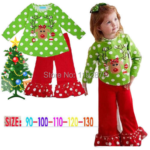 Гаджет  2PCS Baby Child Polka Dot Christmas Clothes Baby Girls Coat + Pants Outfits 0-5T None Детские товары