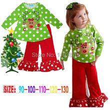 2PCS Baby Child Polka Dot Christmas Clothes Baby Girls Coat + Pants Outfits 0-5T(China (Mainland))