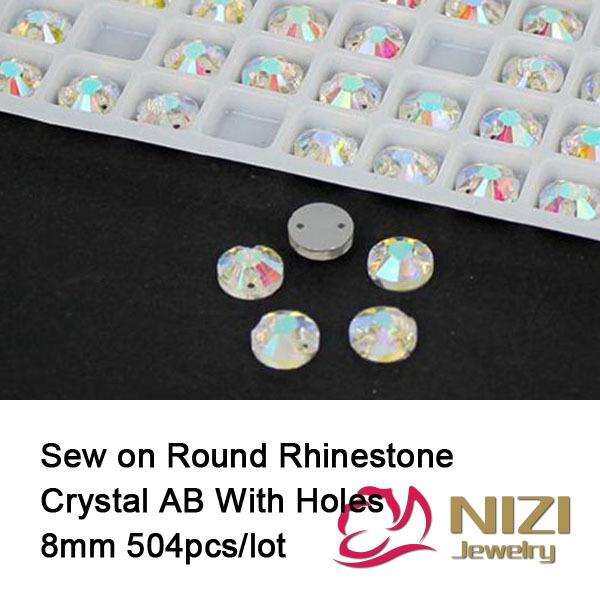 Здесь продается  Rhinestones 8mm Flatback Crystal AB Sewing Glass Rhinestone Round Shape Sew On Rhinestones For Fashion New Strass For Dress  Красота и здоровье
